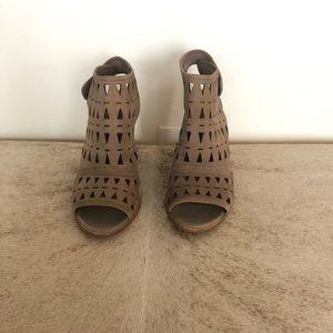 Open toe suede booties